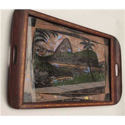 Tray with wood and butterfly inlay; Rio de  Janero.         Est.:  $50-$100.