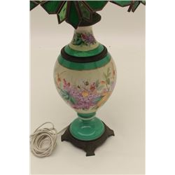 Antique porcelain lamp with glass shade.     Est.:  $50-$100.
