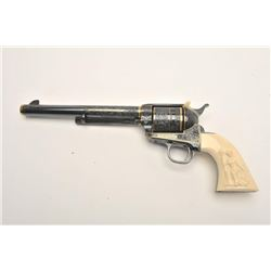 """Important Colt engraved SAA revolver, .45  caliber, 8"""" barrel, blued with gold banding  and accents,"""
