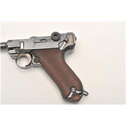 "Romanian Luger semi-automatic pistol by DWM,  9mm caliber, 4"" barrel, blued finish, high  point wear"