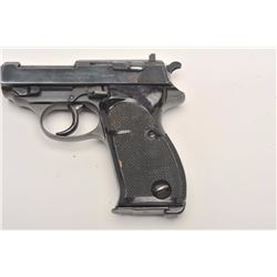 """Walther Model HP semi-automatic pistol, 9mm  caliber, 5"""" barrel, blued finish, checkered  grips, S/N"""