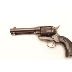 """Colt SAA revolver, .44-40 caliber, barrel  reduced to 4.75"""", checkered hard rubber eagle  grips, S/N"""