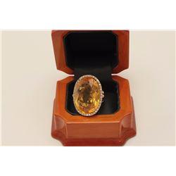 Rare Estate piece 'made in Italy' 14 karat  yellow gold ladies designer ring set with  vivid yellow