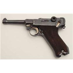 "DWM Commercial Luger semi-automatic pistol,  dated 1915, 9mm caliber, 4"" barrel, blued  finish, chec"