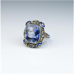 Gorgeous authentic Vintage ring with very  nice created sapphire weighing approx. 6.00  carats in 14