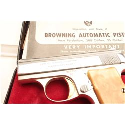 """Belgian-made """"Baby"""" Browning semi-automatic  pistol, .25 caliber, in factory two-tone  nickel with g"""