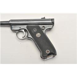 "Ruger pre-MK I semi-automatic pistol,.22LR  caliber, 4.75"" barrel, blued finish,  checkered grips wi"