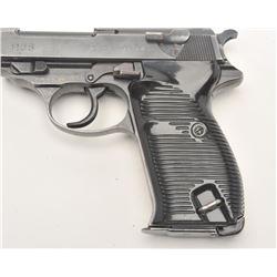 "German P-38 semi-automatic pistol,  ac43-marked, 9mm caliber, 5"" barrel, military  blued finish, bla"