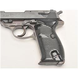 "German P-38 semi-automatic pistol, ac  44-marked, 9mm caliber, 4.75"" barrel,  military finish, black"