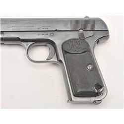 "Belgian FN Model 1903 semi-automatic pistol,  9mm caliber, 5"" barrel, military blued  finish, checke"