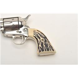 """Great Western Arms Co. SAA revolver, .22  caliber, 5.5"""" barrel, nickel finish, faux  stag grips, S/N"""