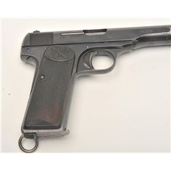"""FN semi-automatic pistol, 9mm caliber, 4.5""""  barrel, blued finish, checkered hard rubber  grips, S/N"""