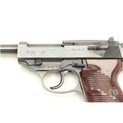 "German P-38 byf 43 marked semi-automatic  pistol, 9mm caliber, 4.75"" barrel, military  finish maroon"