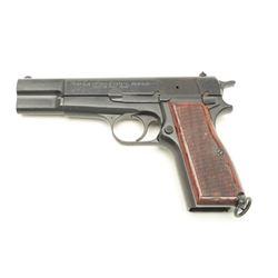 "FN semi-automatic pistol, 9mm caliber, 4.5""  barrel, baked on enamel finish, lanyard ring  (military"
