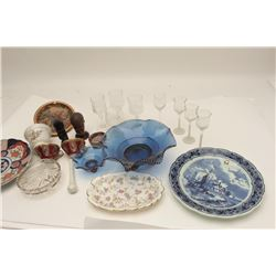Lot of antique misc. glassware and wood  carvings. Est.: $150-$300