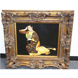 """Large painting of Asian Lady in ornate carved  frame, signed """"L. Pliego""""; approximately 35""""  x 38"""" o"""