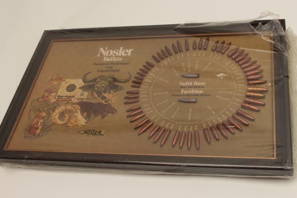 Nosler bullet board featuring Nosler Partition and Solid Base bullets