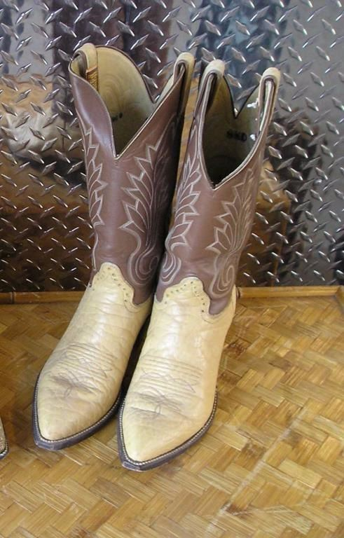3ecd6a4bfbb Pair of Mens Cowboy boots. Light tan elephant skin lower with a ...