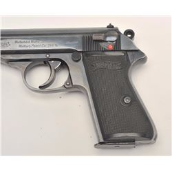 "Walther Model PP semi-automatic pistol,  7.65mm caliber, 3.75"" barrel, blued finish,  checkered plas"