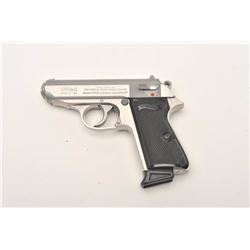 """Walther Model PPK/S semi-automatic pistol,  .380 ACP caliber, 3.25"""" barrel, stainless,  checkered bl"""