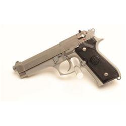 "Beretta Model 92FS semi-automatic pistol, 9mm  caliber, 4.5"" barrel, stainless, checkered  black gri"