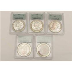 PCGS Graded MS-63 U.S. Dollars 5 total. Dated  1887 Est:$275-550
