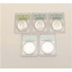 PCGS Graded MS-63 U.S. Dollars 5 total. Dated  1886 Est:$275-550