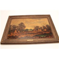 "Oil on canvas signed Blakelock and titled  ""Indian Encampment"" Measures 22 3/8"" x 36  1/8"". This art"