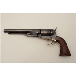 Colt Army Model 1860 percussion revolver, .44  caliber, Serial #166358, blued and case  hardened fin
