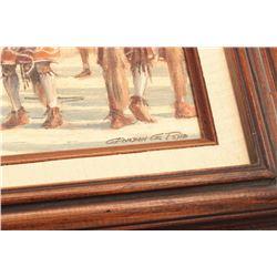 """Snake Dance"", signed Gordon G. Pond,  Winslow, AZ artist, approximately 15"" x 18"".      From the es"