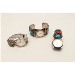 """Three watches (not running) with silver and  turquoise bands; all marked silver; one  signed """"R.C.B."""