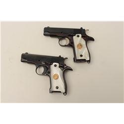 "Custom double cased set of Iver Johnson Pony  Model semi-automatic pistols, .380 caliber,  3.25"" bar"