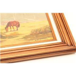 """Original oil oil board entitled """"The  Pasture"""", signed Llyod J. Mitchell, known  Southern Calif. art"""