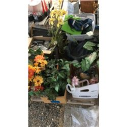Pallet of fake plants , glass ware, and glass
