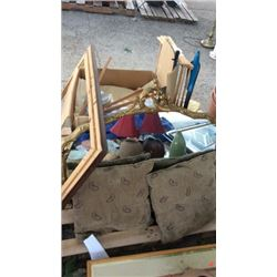 Pallet of linens , mirror and miscellaneous