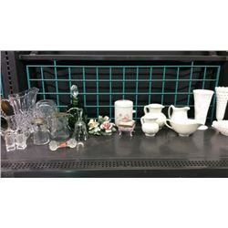 Shelf of glassware