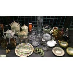 Shelf of collectible glassware