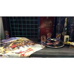 Shelf of Budweiser collectibles