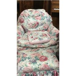 Floral chair and footstool