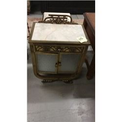 Marble topped brass lamp table