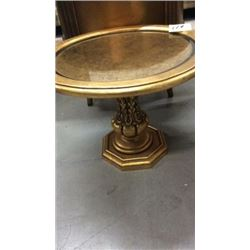 Glass topped lamp table