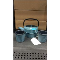 Gaia tea kettle and cup set (blue)