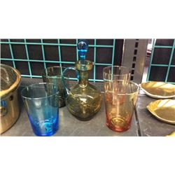 Colored Glass Brandy Set