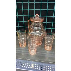 Pink Glass Water Set