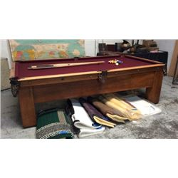 Antique Mission Style H.J Sullivan Pool Table