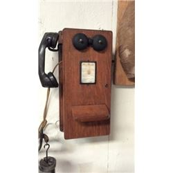 Antique Oak Wall Phone