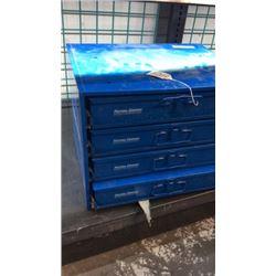 """""""Fastenal"""" metal hardware box ( full of hardware)"""