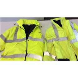 2 cold weather reflective safety coats ( left is