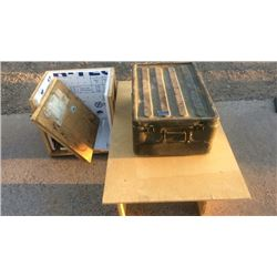 Military chest, wooden table and wooden shipping