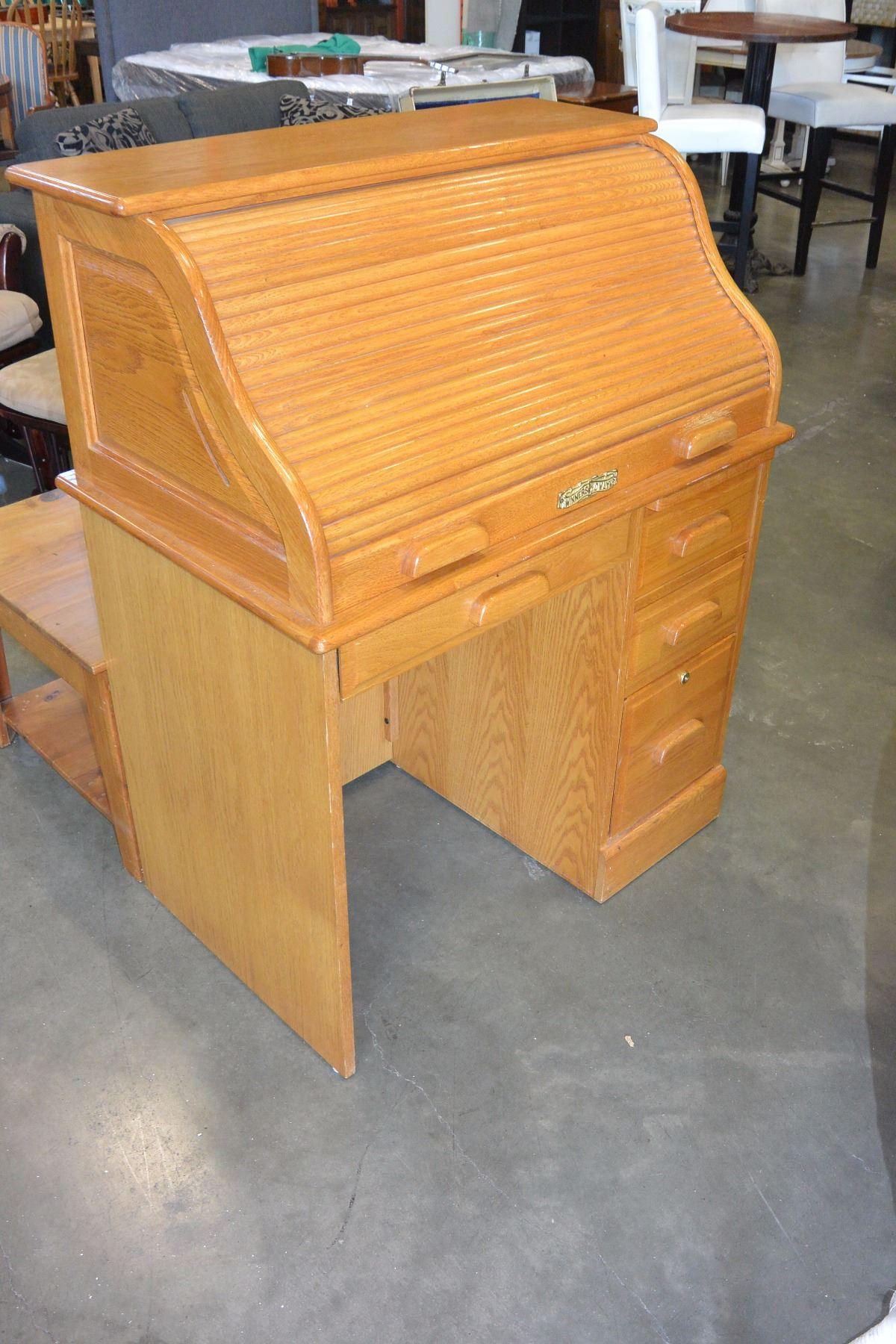 Solid Oak Winners Only Roll Top Desk